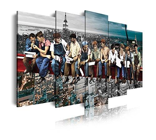 DekoArte 292 - Cuadros Modernos Impresión de Imagen Artística Digitalizada | Lienzo Decorativo Para Tu Salón o Dormitorio | Ciudades Nueva York Obreros En Viga Rockefeller Center | 5 Piezas 150x80cm