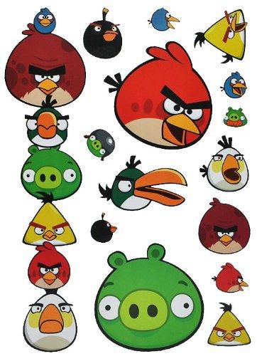 alles-meine.de GmbH 15 TLG. Set Wandtattoo / Fensterbilder - Angry Birds - selbstklebend + Wiederverwendbar - Wandsticker Vögel Red Jim Jake Chuck Schwein Sticker Aufkleber
