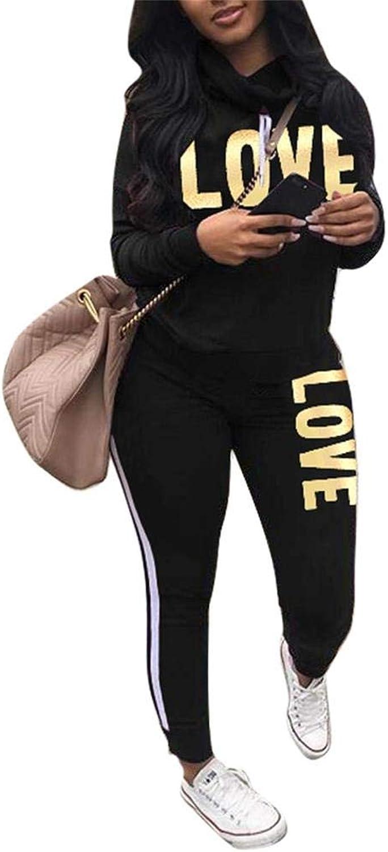 Women's Letter Print 2 Piece Outfits Jogging Suit Set Cowl Neck Long Sleeve Sweatshirt Tracksuit Sweatsuits Set Black