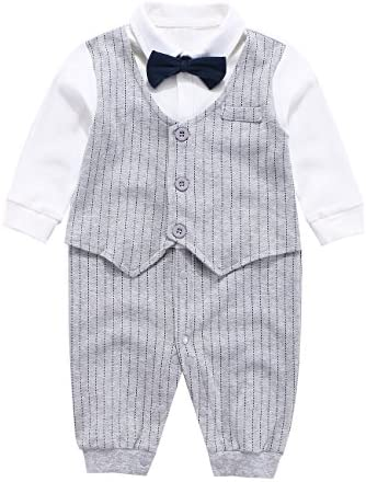 Mornyray Baby Boy Formal Jumpsuit Cotton One Piece Shirt with Bow Tie Size 59 Gray Stripe product image
