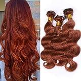 Dark Auburn Hair Weaves Body Wave Human Hair Bundles Pure 33 Copper Red Brazilian Virgin Hair Extensions Double Wefts Reddish Brown Wavy 3/4 Bundles Deals Mixed Length (10 12 14Inch)