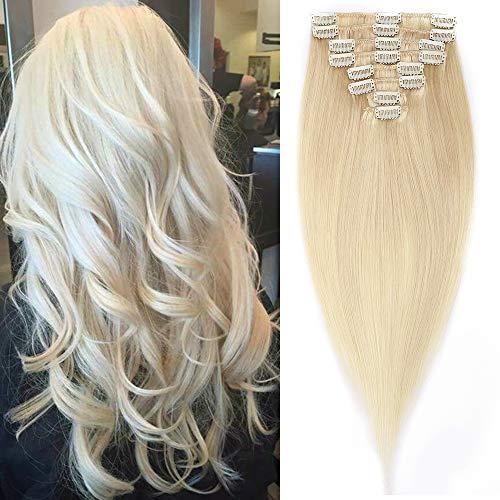 8 Bandes Extension Cheveux Naturel Long [Epaisseur Moyenne] Extension A Clip Cheveux Humain Naturel Rajout Cheveux Lisse Raide De Haute Qualité [16\