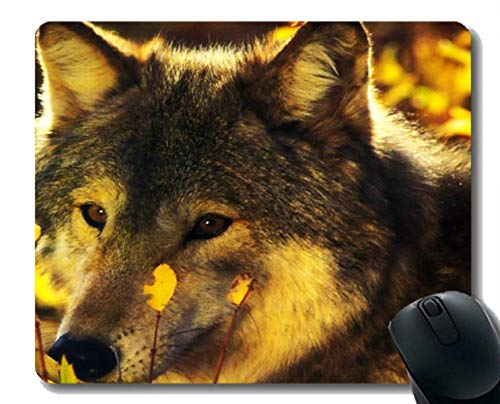 Gaming Mouse Mat,Animal Wolf Vinyl Mousepad Nonslip Rubber Backing