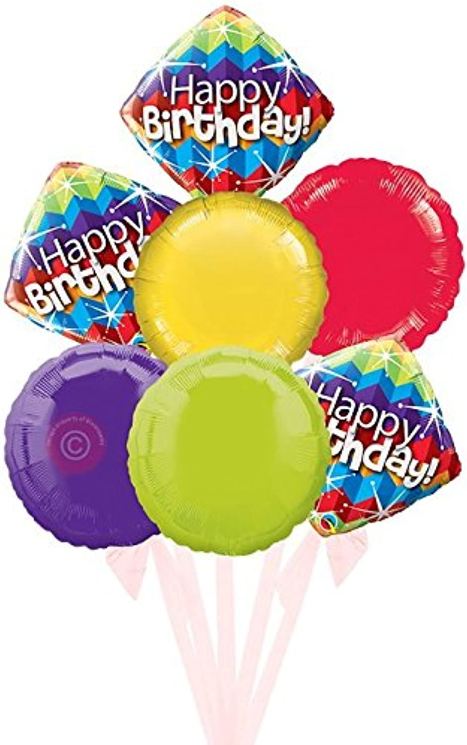 Happy Birthday Zig Zags and Starbursts  Inflated Birthday Helium Balloon Delivered in a Box  Bigger Bouquet  7 Balloons  Bloonaway
