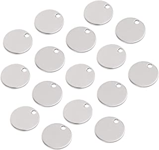 Stainless Steel Round Blank Stamping Tag Charms DIY Metal Bracelet Necklace Jewelry Findings DIY Jewelry Charms Pendants (Silver) 40pcs