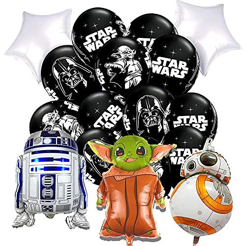 CSYJ Ensemble de décoration de fête Ballons Star Wars Articles De Fête d'anniversaire pour Enfants Star Wars Comprend 12 Ballons en Latex et 5 Ballons en Aluminium