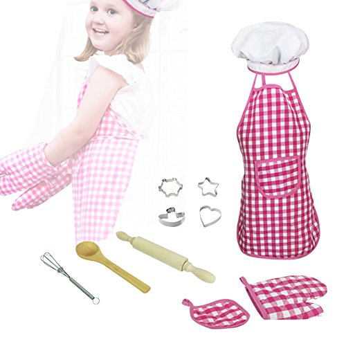 Per 11pcs Kids Baking Set, Children Bakeware Kit Include Apron,Oven Glove,Eggbeater, Cookie Cutters Real Baking Supplies Kitchen Chef Costume For Children (Pink Lattice)