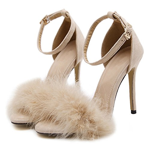 CYBLING Women's Open Toe Ankle Strap Stiletto High Heel Sandals Sexy Fluffy Feather Party Dress Pump Apricot