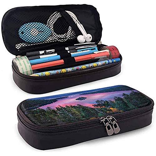Bleistiftbeutel, federmäppchen tasche, federmäppchen, große kapazität bleistift slot see wald und see blick 20 cm * 9 cm * 4 cm
