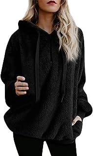 BOLANQ Top Damen, Frauen Kapuzen Sweatshirt Mantel Winter Warme Wolle Reißverschlusstaschen Baumwollmantel Outwear