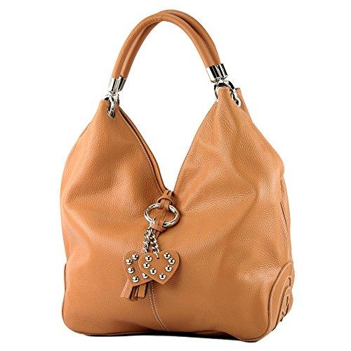 modamoda de - 330 - ital Handtasche Shopper Schultertasche Leder, Farbe:Camel