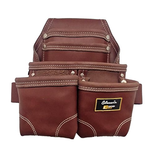 Leather Gold 3350DP, 5 Pockets, Brown, Oil-Tanned Leather, Heavy Duty Carpenter Tool Belt With Reinforced Seams and 2 Snap Loops