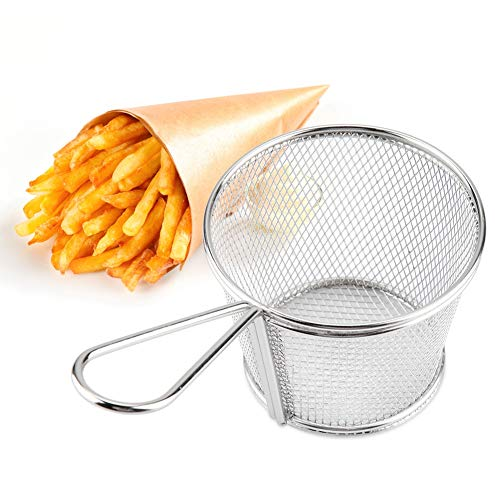 Mini Freidora Basket Fry Cestas De Acero Inoxidable, Freír Patatas Fritas Canasta Malla, Francés Chip Fritura Servir Presentación Comida Strainer Netto
