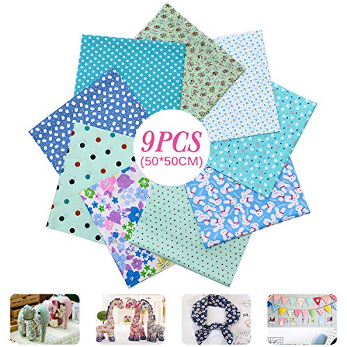 """CAVEEN Quilting Fabric, 20"""" x20"""" (50cm x 50cm) 9pcs Fat Quarters Fabric Bundles Printed Floral Cotton Fabric, Pre-Cut Quilt Squares for Patchwork, Sewing Crafting (Cyan)"""