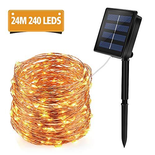 Solar Lichterkette Aussen, 24M 240 LED Lichterketten Außen Wasserdicht Kupferdraht mit 8 Modi für Weihnachten Garten Party Hochzeit Deko, Warmweiß [Energieklasse A+++]