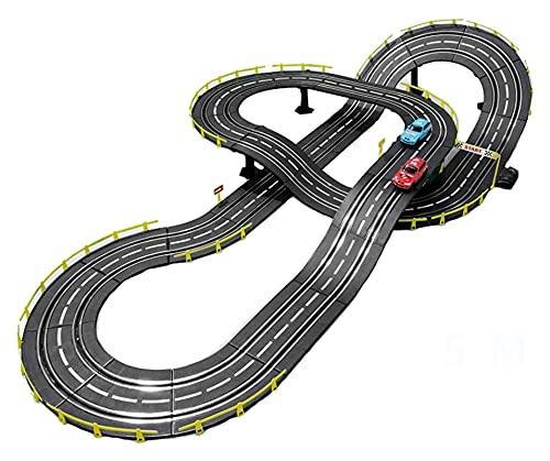 Decoración del hogar Slot Cars Juego de rieles Juguetes de ensamblaje creativo interactivo para padres e hijos Juguetes de carreras de pistas Juguetes para niños Carreras competitivas Control remot