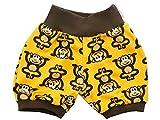 Kleine Könige Kurze Pumphose Baby Jungen Shorts · Modell Äffchen gelb braun · Ökotex 100 Zertifiziert · Größe 86/92