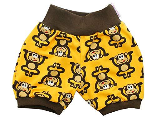 Kleine Könige Kurze Pumphose Baby Jungen Shorts · Modell AFFE Äffchen gelb, braun · Ökotex 100 Zertifiziert · Größe 86/92