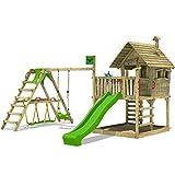 FATMOOSE Kletterturm WackyWorld Mega XXL Spielturm Spielhaus mit Holzdach, Schaukel, Rutsche,...
