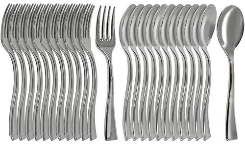 COM-FOUR® 24-delige bestekset bestaande uit wegwerpvorken en lepels - gemetalliseerd plastic bestek - voor desserts en onderweg (24 stuks - mixset vork + lepel)