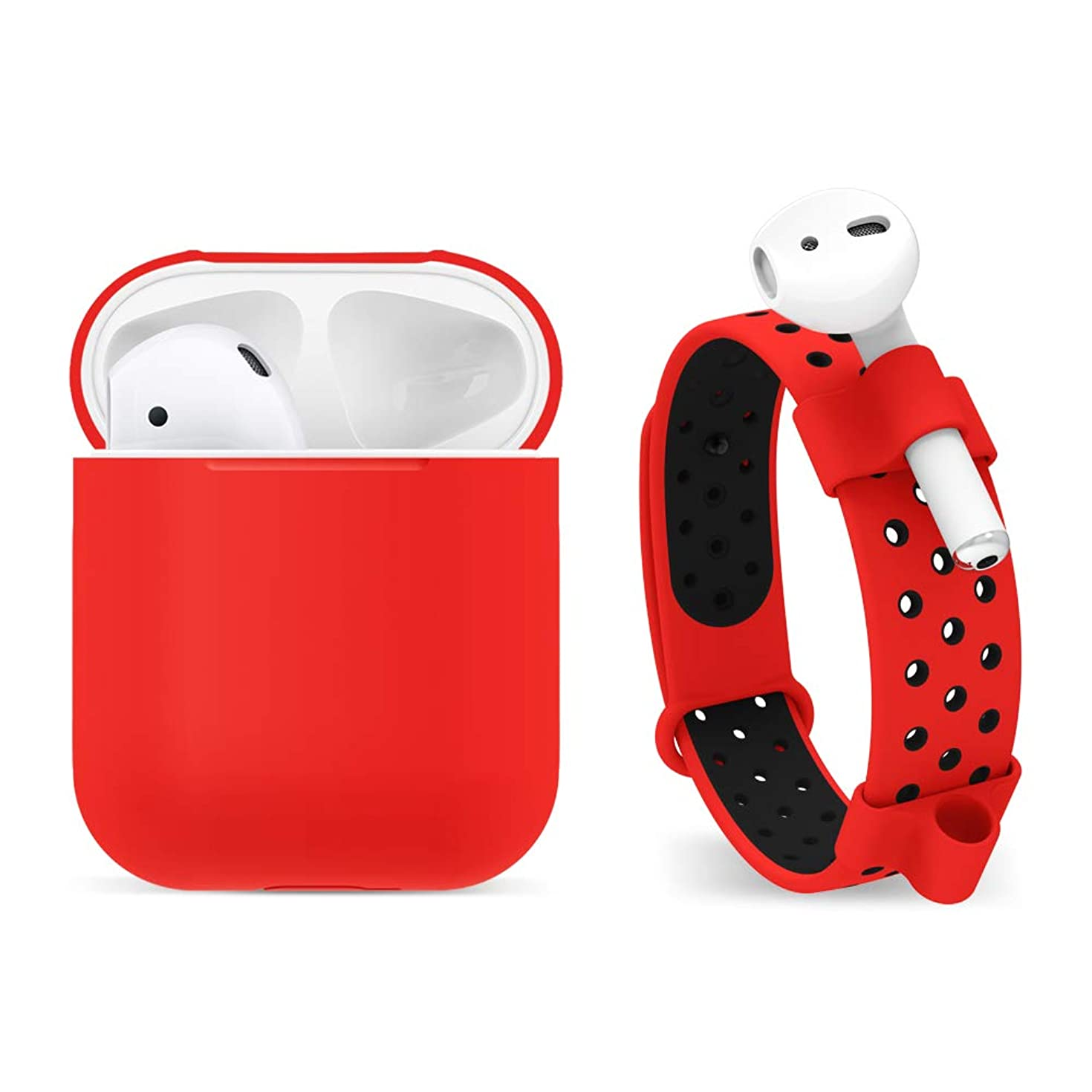 FRTMA Compatible with AirPods Silicone Case, Adjustable Anti-Lost Watch Band & Holder Compatible AirPods Headphone (Red)