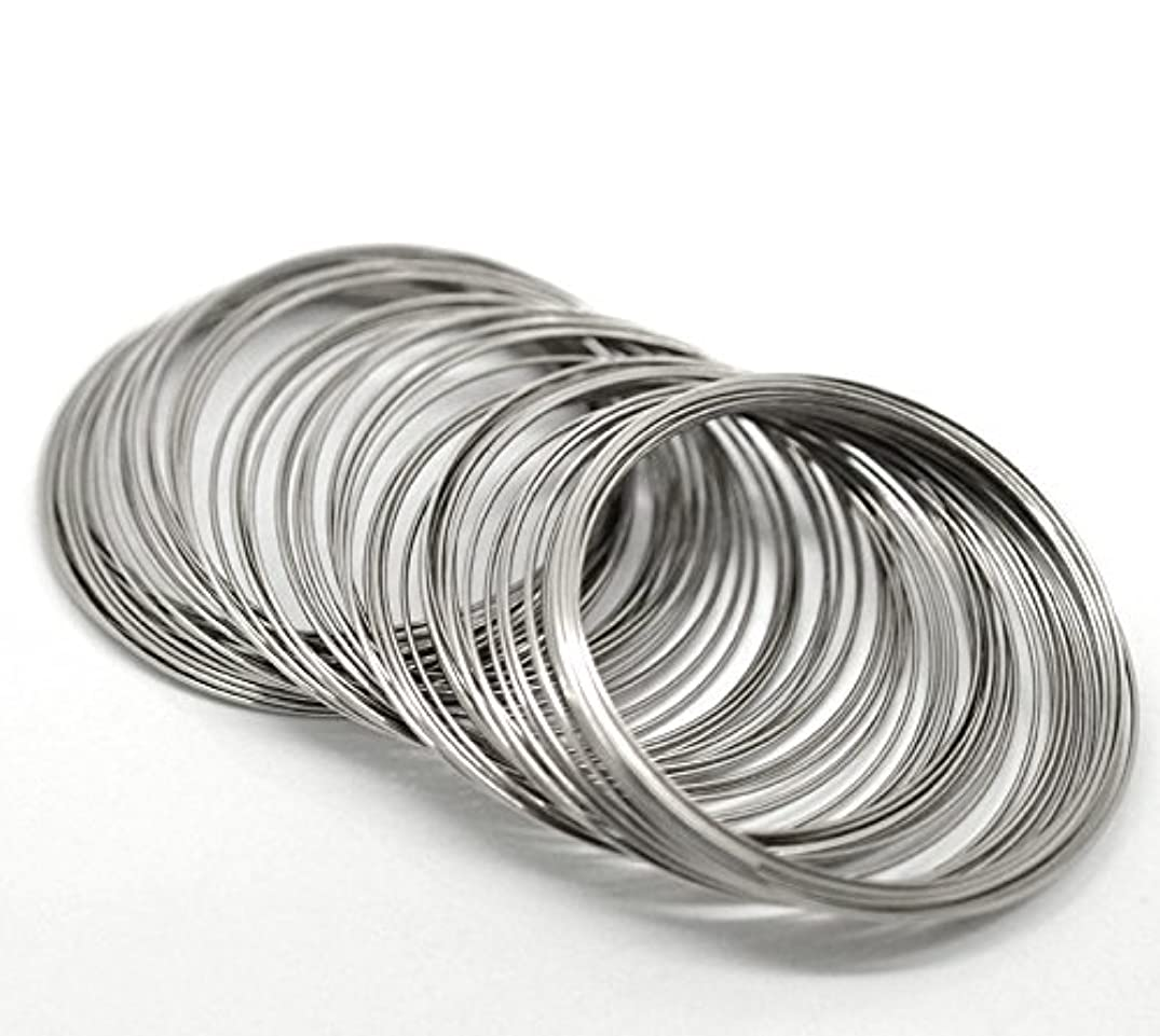 PEPPERLONELY Brand 200 Loop Silver Tone Memory Beading Wire for Bracelet 2-3/8 x 2-1/2 Inch ( 60MM-65MM )