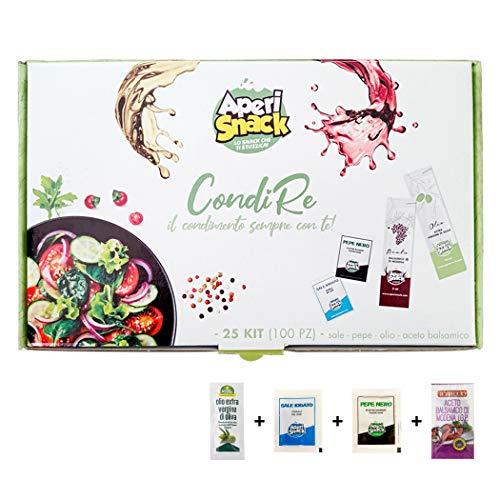 Aperisnack - AP20.001.01 Condimento per Insalate 25 Kit (100pz) bustine di Sale, Pepe, Olio e Aceto balsamico Modena IGP monodose