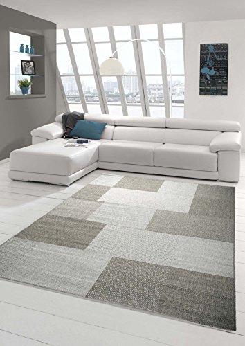 Teppich Modern Flachgewebe Kariert Sisal Optik Küchenteppich Küchenläufer Karo Design Grau Größe 160x220 cm