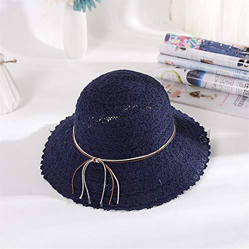 JINRONG Tejida Paja Plegable Rueca Fresca Pequeña Cielo Abierto del Cordón Sombrero del Verano del Sombrero De Sun Dome Cap Plegable Ollas (Color : Navy Blue)