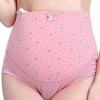 Baiepen Soft Comfortable Cotton Pregnant Women Panties Adjustable High Waist Maternity Underwear Short Abdominal Pants Pink