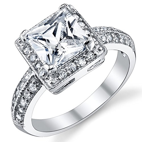 2 Carat Princess Cut Cubic Zirconia Sterling Silver 925 Wedding Engagement Ring Size 9
