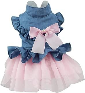 MomentDAY Blue Lace Dog Tutu Pink Dress Pet Wedding Clothes Big Bow Dog Vest Shirts Sundress for Summer Tutu XS-L2