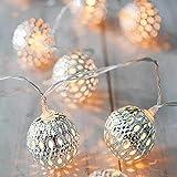 I3C Hada marroquí bola luces LED funciona con pilas, lámpara de decoración para el hogar y al aire libre (plata, 3 metros, 20 luces)