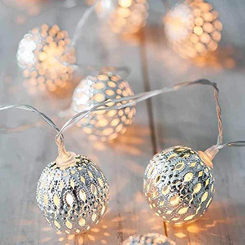 I3C 3M LED Kugel Lichterkette für Inner mit 20 LED-Lampen Dekorative Marokkanische Kugeln für Heimdekoration, Garten, Bäume, Topfpflanzen, AA Batteriebetrieben(Keine Batterie enthält), Silber