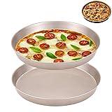 2 Piezas Bandejas Pizza Horno Redondas, Bandejas Pizza Juego, Juego para Hornear Pizza Antiadherente, Bandeja para Pizza Dorada para Hornear con Superficie Antiadherente Redonda, para Restaurantes
