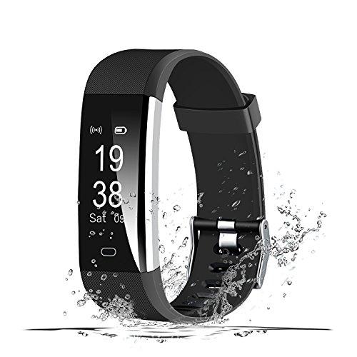 MSDJK Pulsera Actividad, IP 67 Pulsera Impermeable,Monitor de Ritmo Cardíaco,Contador de Calorias/Monitor de Sueño,Contador de Pasos, para Android y iOS teléfono Inteligente(Negro)