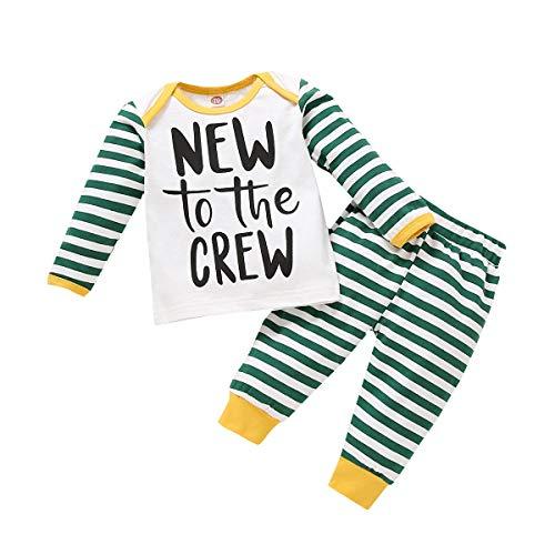 Verve Jelly Conjunto de ropa para recién nacido, camiseta de manga larga y pantalón a rayas, 2 piezas, ropa informal. Negro 0-3 Meses