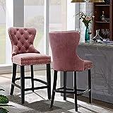 Doux bar tabouret haut vintage velours tabouret de bar, un pub de jambe de bois tapissé, comptoirs, cuisine, salle à manger des chaises pour le petit déjeuner,Pink