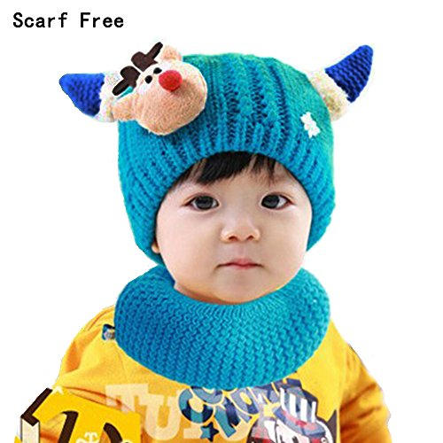 Coolpay Cute Baby Warm Hat With Scarf Children Winter Windproof Ski Knit Hat,Perfect for 1-4 Years Old Baby Girls or Baby Boys ( 2 Pcs ) (Blue)