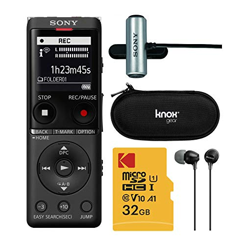 Sony ICDUX570BLK Slim Design Digital Voice Recorder (Black) Complete Professional Bundle - 32GB Micro SD, Sony ECMCS3 Mic, Sony EX15 Earbuds, and Knox Gear Hardcase (5 Items)