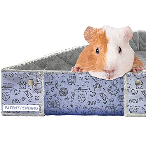 Paw Inspired Critter Box | Washable Guinea Pig Cage Liners | Ultimate Side and Corner Protection | Super Absorbent Fleece Liner Bedding | Pee Pad for Rabbits, Hamsters, and all Small Animals (Midwest)