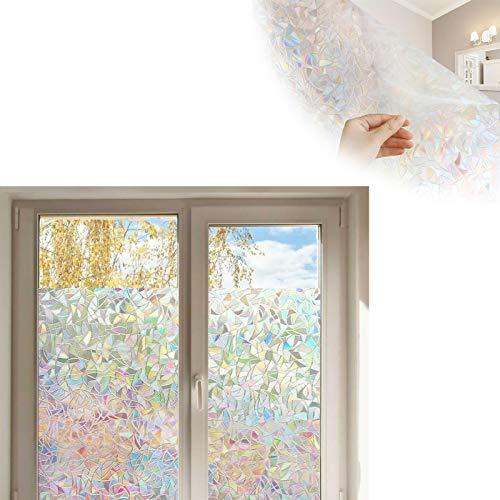 KKJP Stained Glass Rainbow Film, Window Privacy Film, Stained Glass Window Decals, No Glue Static Window Cling Anti UV Sticker