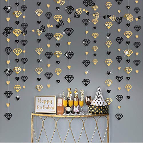 52Ft Black Gold Diamond Valentine's Day Heart Hanging Glitter Metallic Paper Party Streamers Garland for Bachelorette Engagement Wedding Bridal Shower Graduation Birthday Decorations