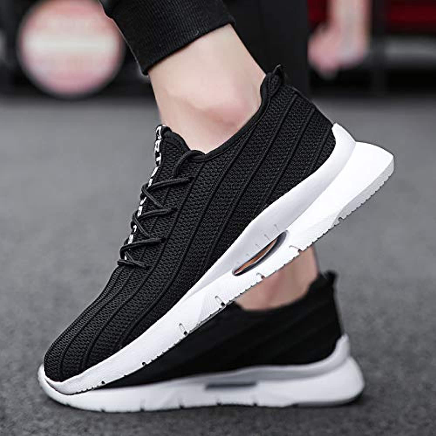 LOVDRAM Men'S shoes Men'S Large Size Men'S Comfortable Flying Woven Shock Absorption Casual Fashion Sports Running shoes 40-46