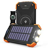 Solar Power Bank, Qi Portable Charger 10,000mAh External Battery Pack Type C Input Port Dual Flashlight, Compass, Solar Panel Charging (Orange)