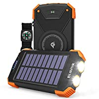 Qi Wireless & Solar Power:10,000mAh wireless power bank with solar. Not just wireless power bank but wireless charger as well compatible with iPhone XR/ XR MAX/ XS/ X/ 8/ 8plus, Samsung Galaxy S9/S9plus S8/S8plus and all qi-enabled mobile devices. Fr...