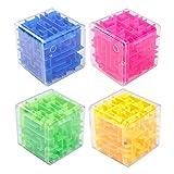 3D Maze Cube, 4 Pack Puzzle Cube Labyrinth Rompicapo Puzzle Game, Giocattolo del Labirinto Tridimensionale Antistress per Bambini E Adulti