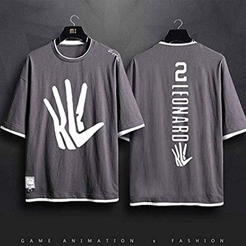 AZHom New Spurs Leonard Camiseta Holgada Informal Cuello Redondo Algodón Baloncesto Hombres y Mujeres Pareja Media Manga (Color : Gray, Size : 2XL)