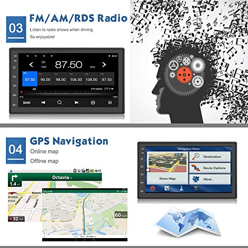KKXXX S2 Mate Android 8.0 Car Stereo GPS Navigation 1GB RAM 16GB ROM AM/FM/RDS Radio Support Backup Camera DVR Input…