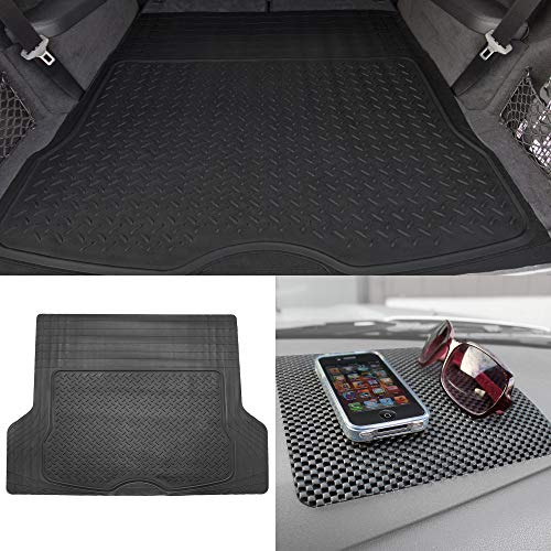 TLH Trimmable Cargo Mat Car Trunk Liner Universal Fit Black Color w/Black Dash Pad
